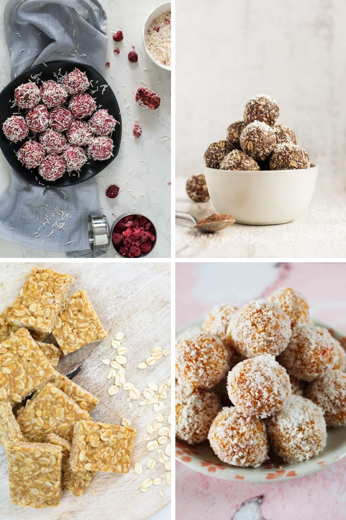 Collage of healthy no bake balls and bars.