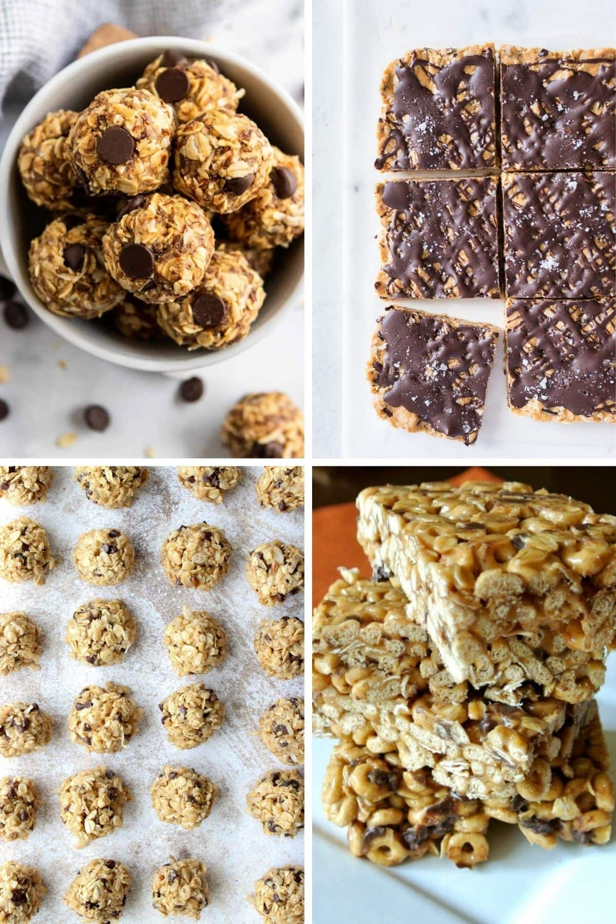 Collage of healthy no bake bars, balls and bites.