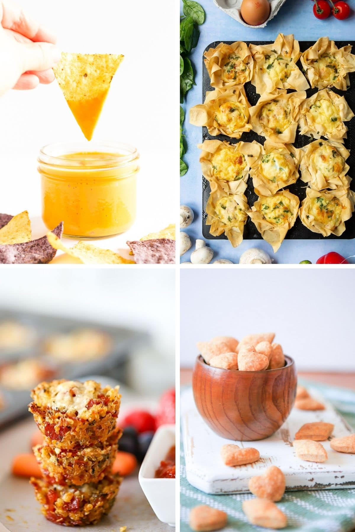 Collage of savoury snacks for kids.