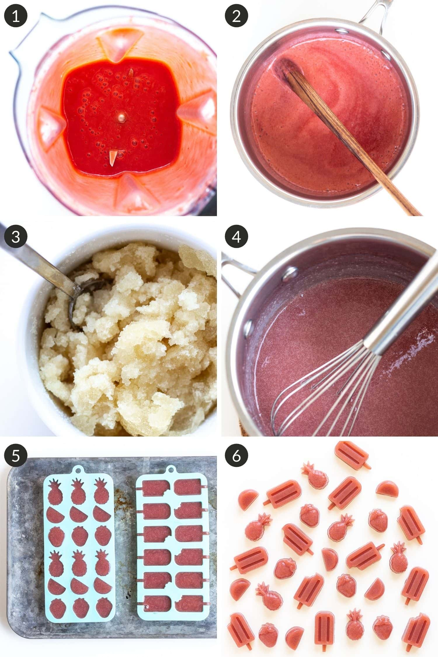 Collage of photos showing how to make healthy strawberry gummies.