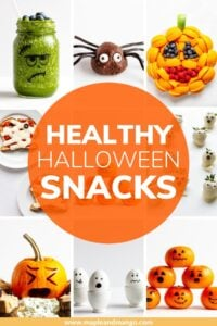 "Collage of Halloween themed food with text overlay ""Healthy Halloween Snacks"""