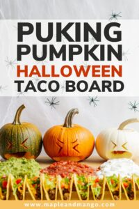 """Pinterest graphic with text overlay """"Puking Pumpkin Halloween Taco Board"""""""