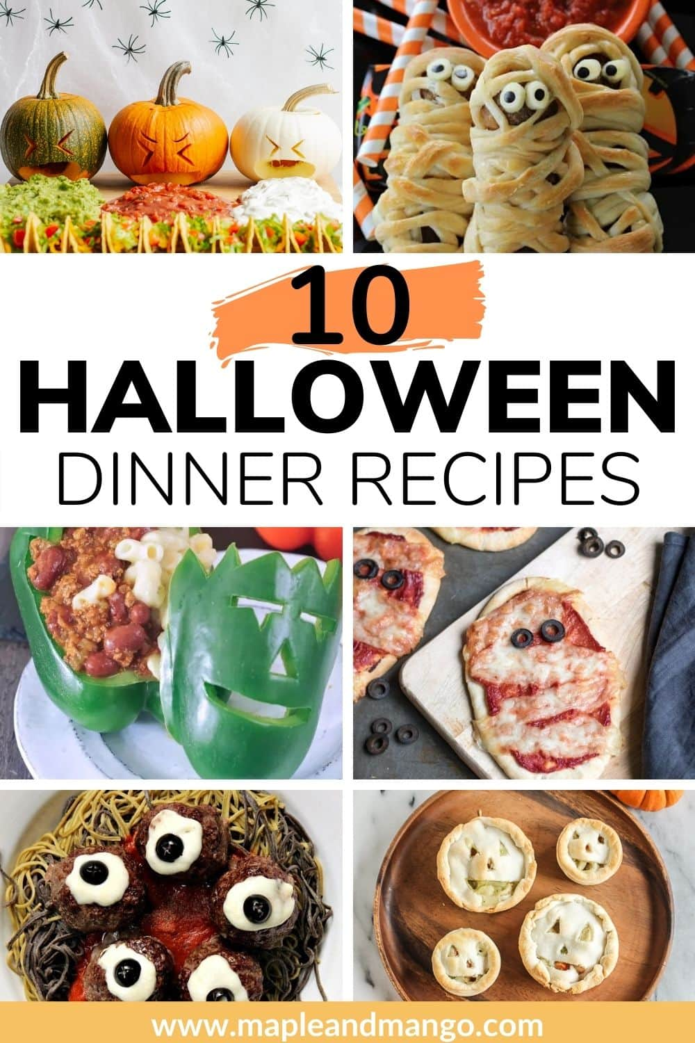 "Pinterest photo collage image with text overlay ""10 Halloween Dinner Recipes"""