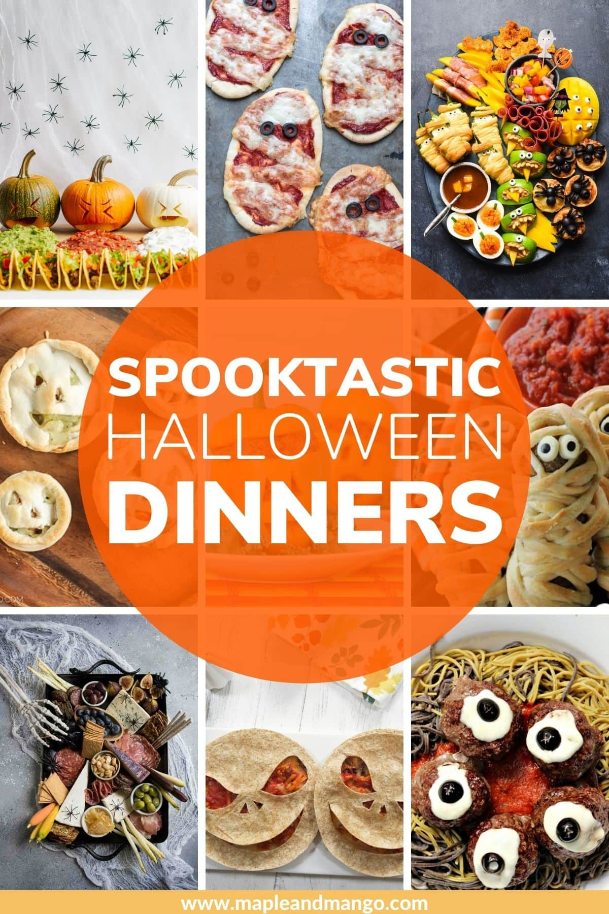 "Photo collage with text overlay ""Spooktastic Halloween Dinners"""