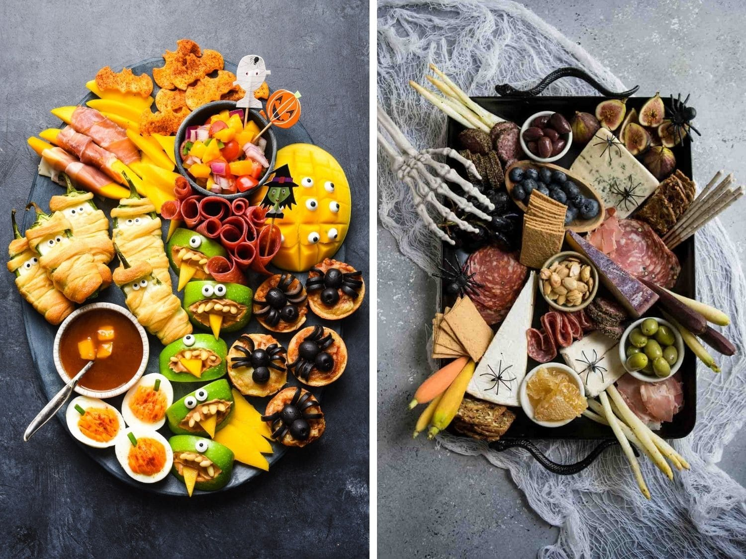 Photo collage of a Halloween themed snack board and charcuterie board.