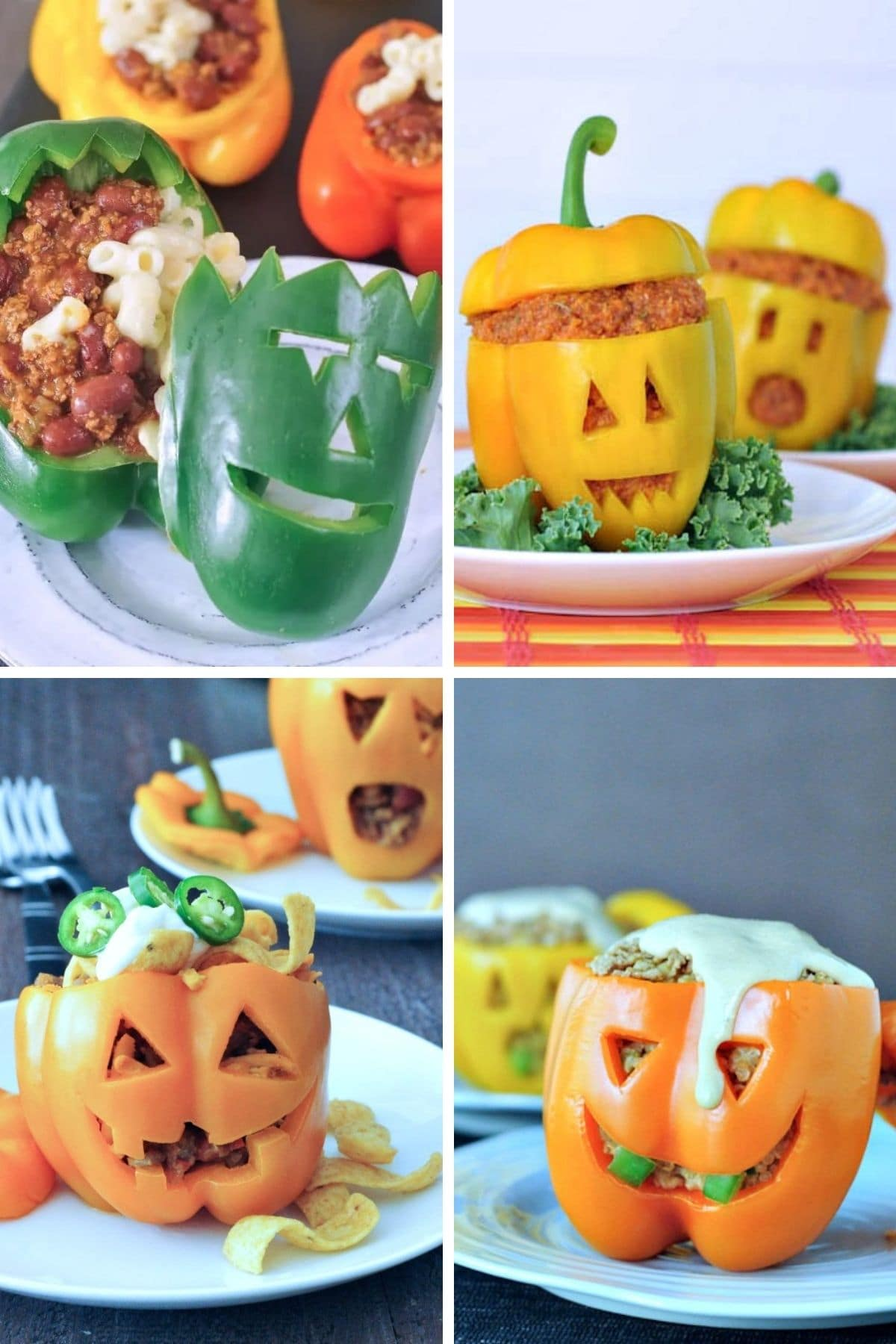 Collage of jack o lantern stuffed peppers with different fillings.