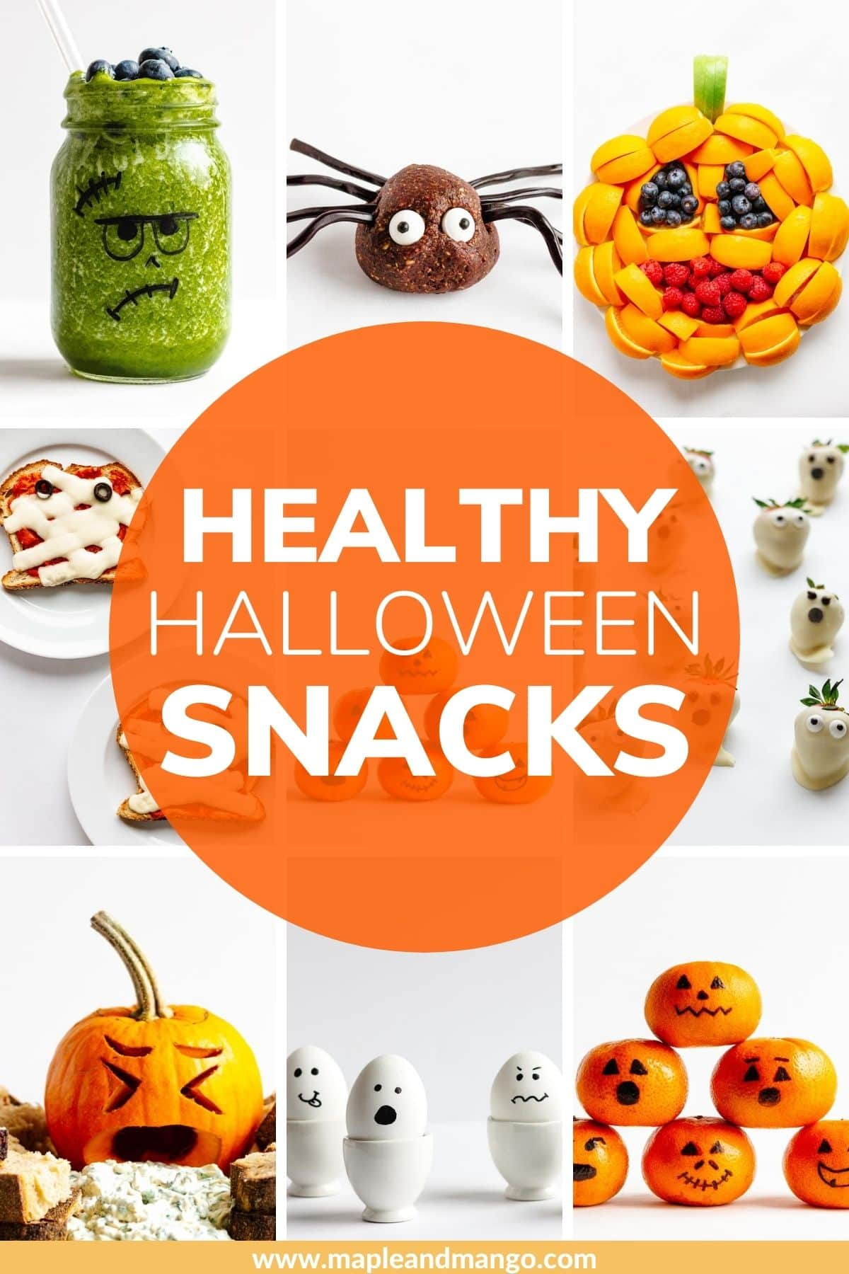 "Photo collage of Halloween themed food with text overlay ""Healthy Hallloween Snacks"""