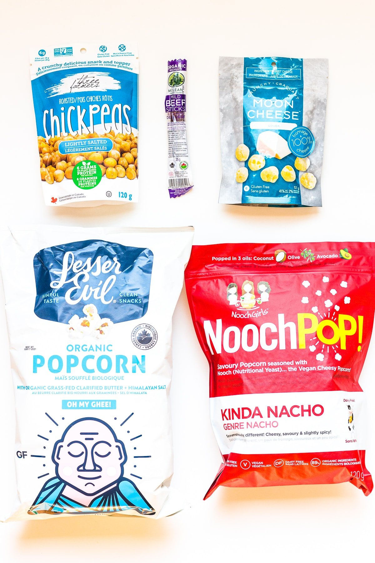 Variety of healthy packaged savoury snacks.