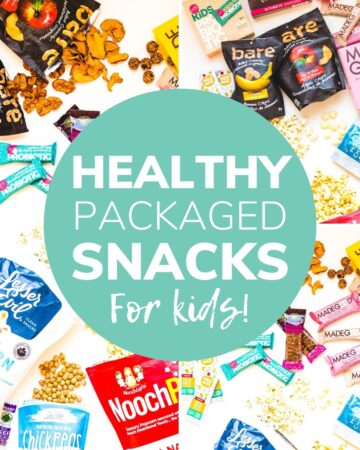 "Collage of packaged snacks with text overlay ""Healthy Packaged Snacks For Kids"""
