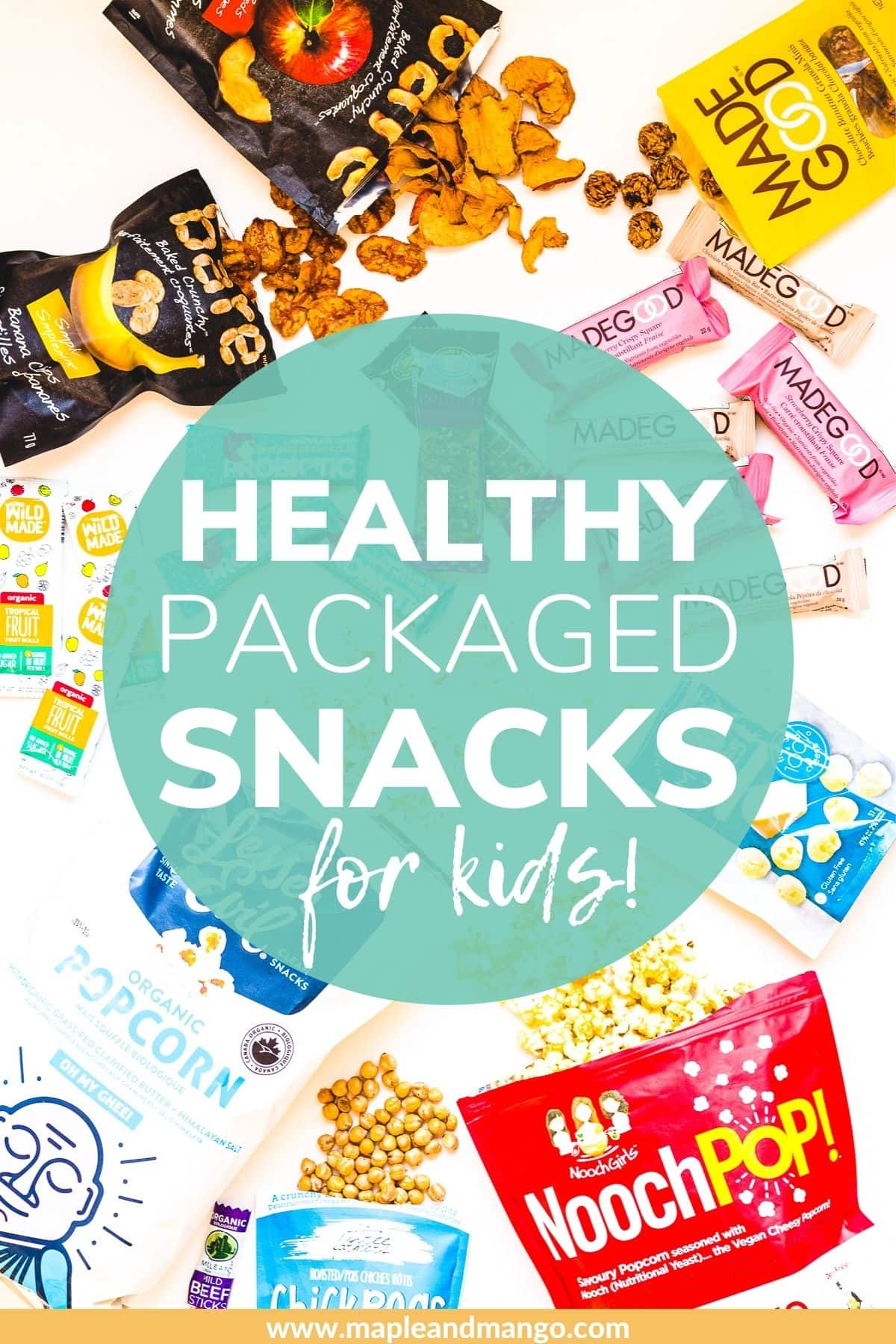 """Overhead photo of a variety of store bought snacks with text overlay """"Healthy Packaged Snacks For Kids"""""""