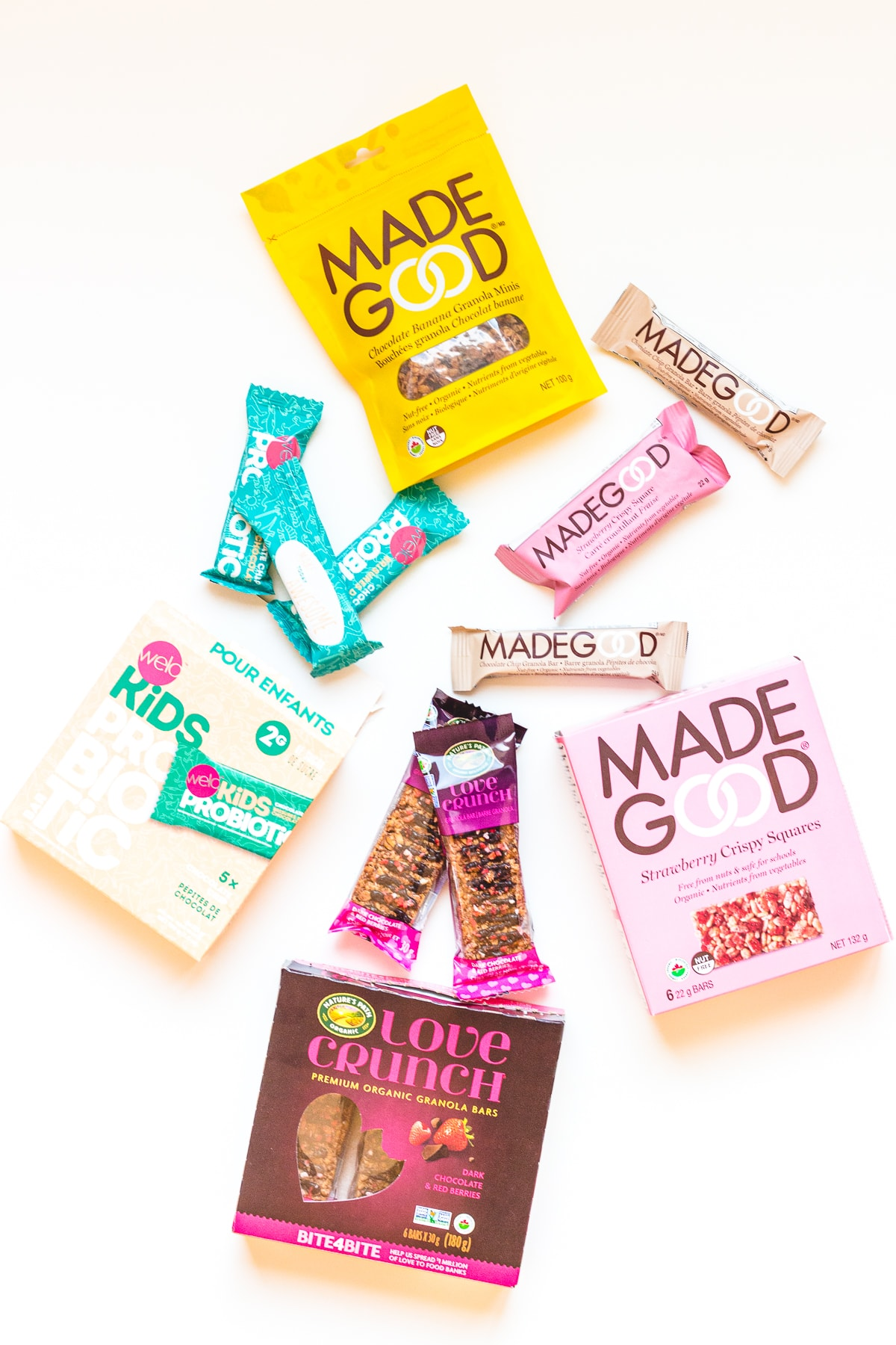 A variety of packaged bars displayed on a white background.