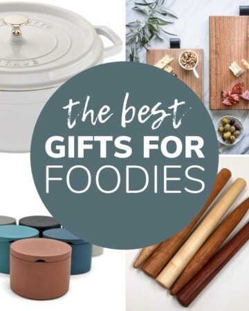 "Photo collage with text overlay ""The Best Gifts For Foodies"""