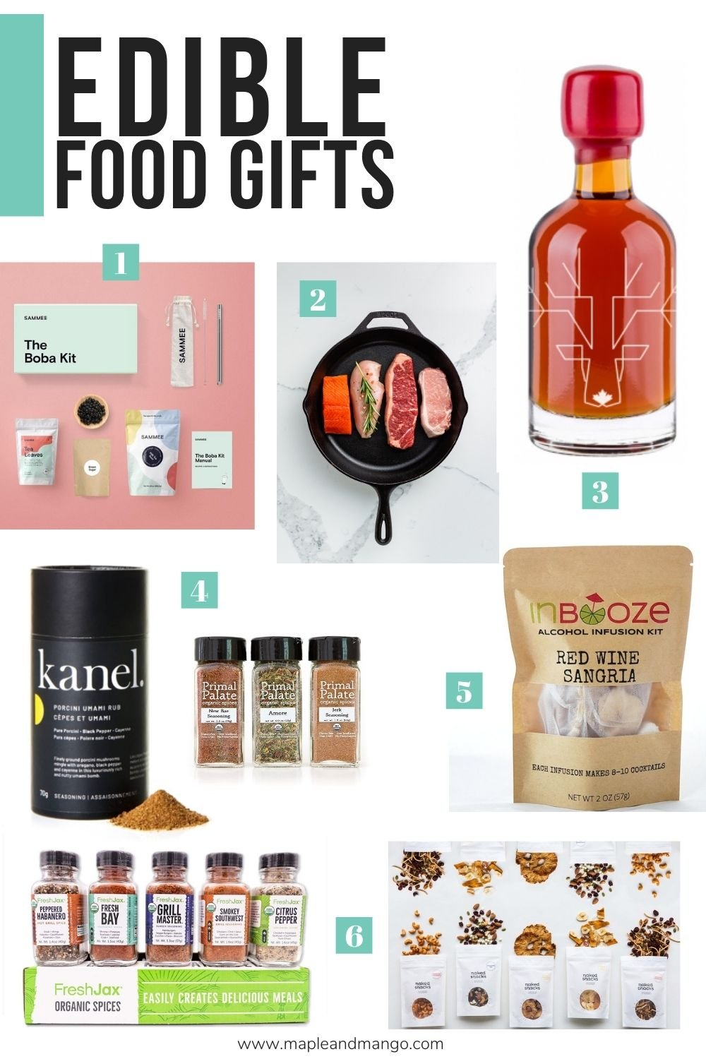 "Collage of edible gifts with text overlay ""Edible Food Gifts"""