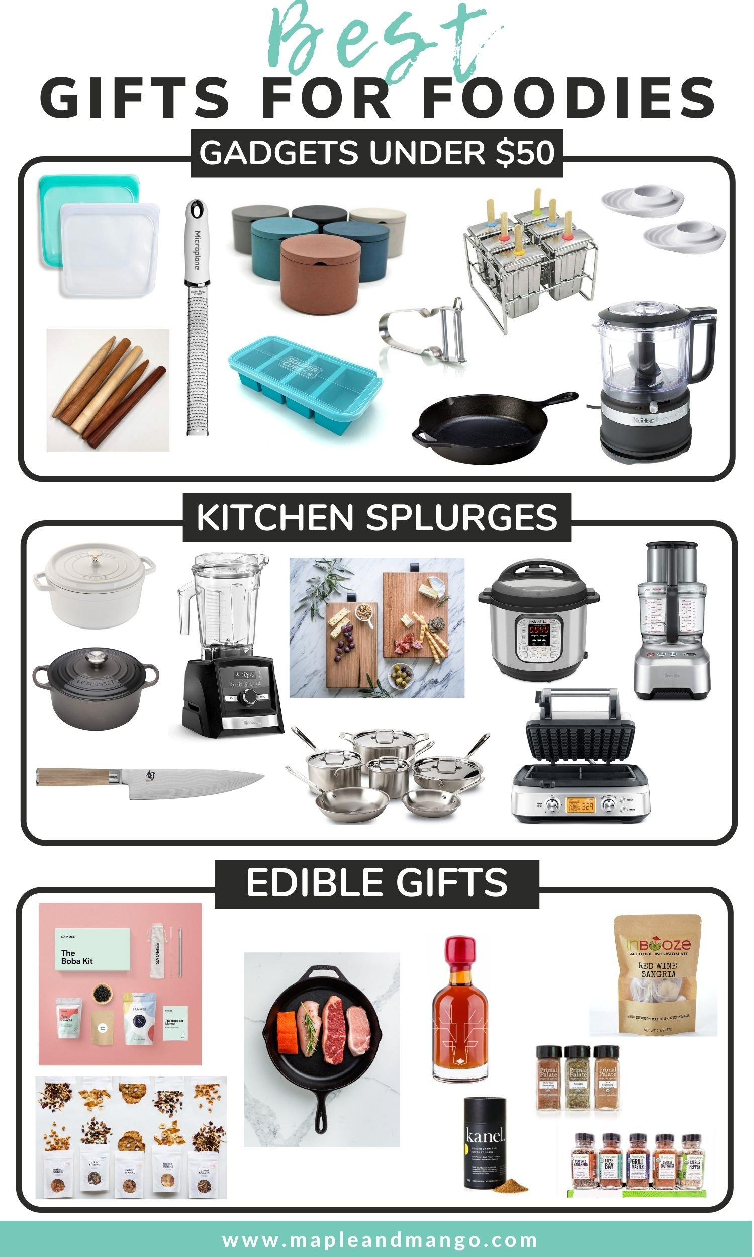 Pinterest collage graphic for the best gifts for foodies.