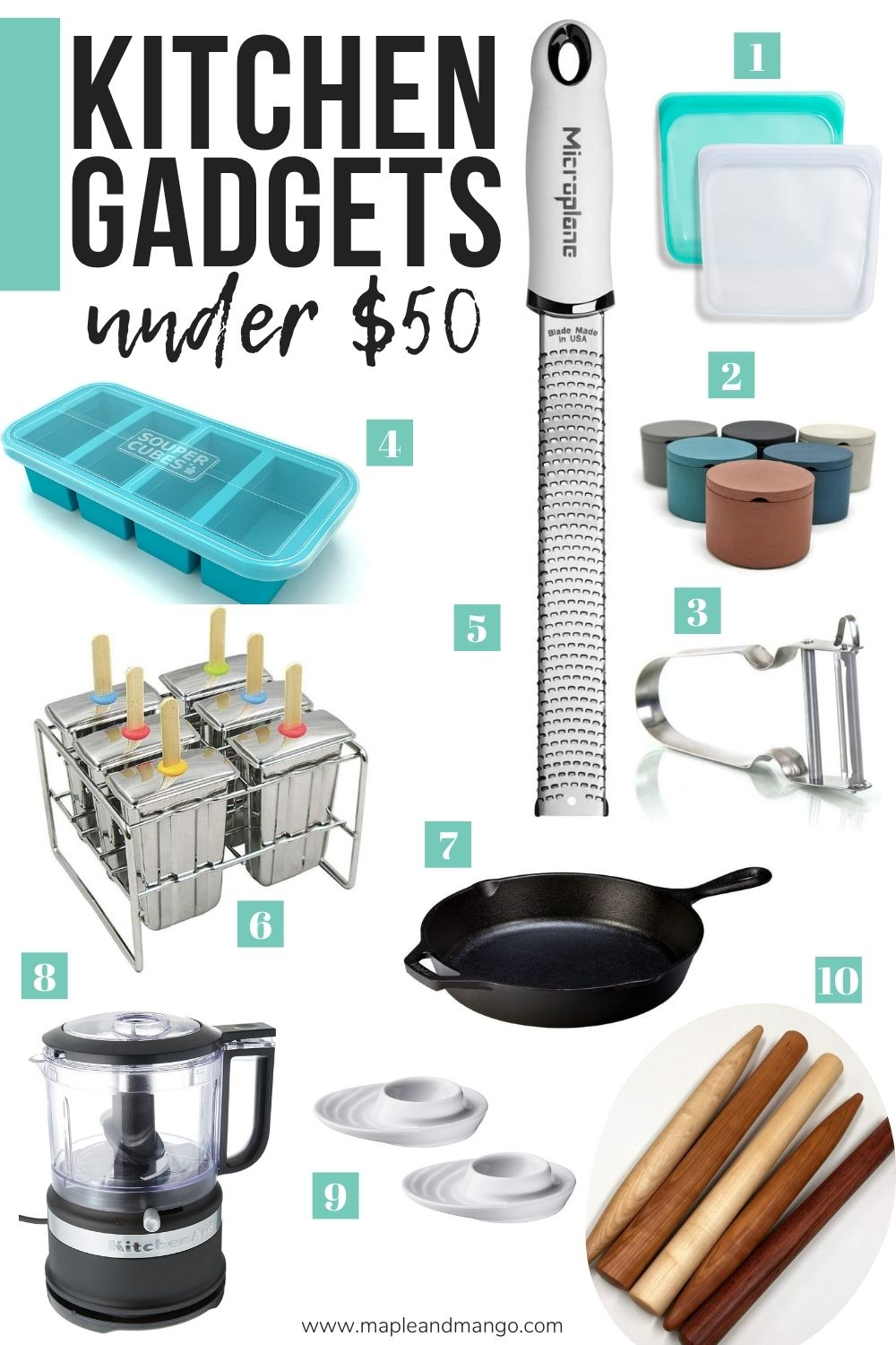 "Collage of kitchen gadgets with text overlay ""Kitchen Gadgets Under $50"""
