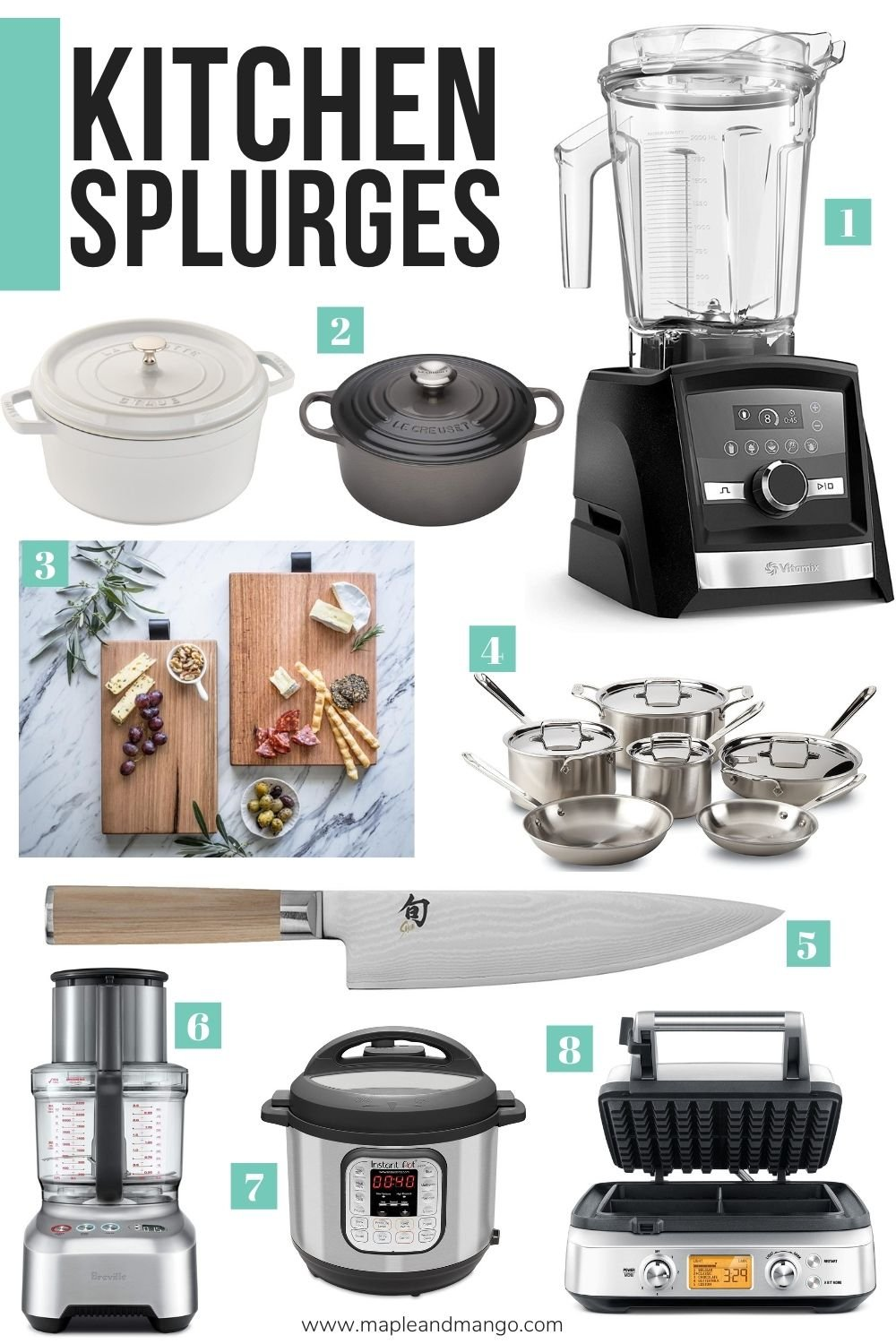 "Collage of cookware and small kitchen appliances with text overlay ""Kitchen Splurges"""