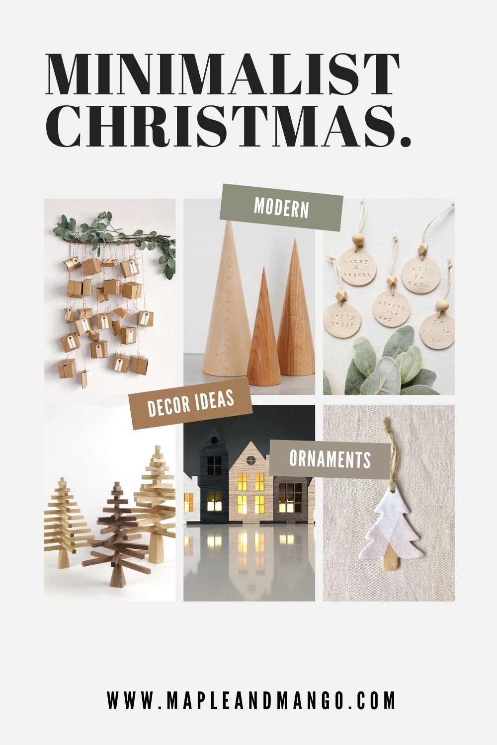 Pinterest graphic for minimalist Christmas decor ideas.