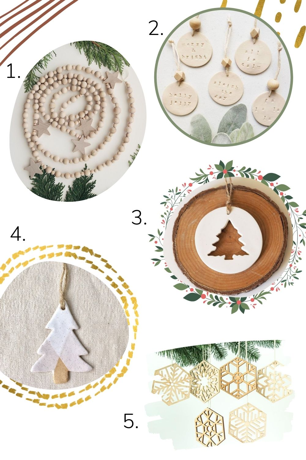 Collage of handcrafted minimalist Christmas ornaments and tree decorations.