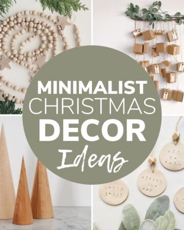 "Collage of holiday decor items with text overlay ""Minimalist Christmas Decor Ideas"""