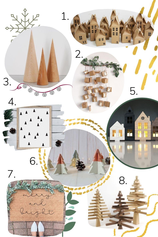 Collage unique minimalist Christmas decor items.