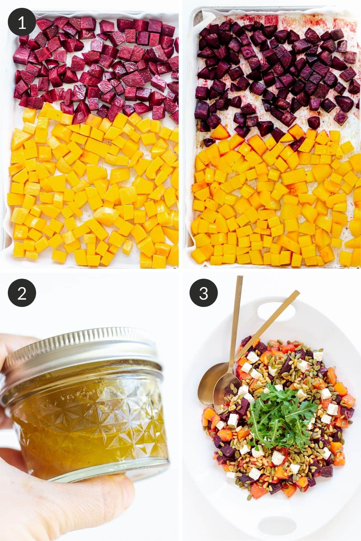 Photo collage showing how to make a roasted pumpkin and beetroot salad step by step.