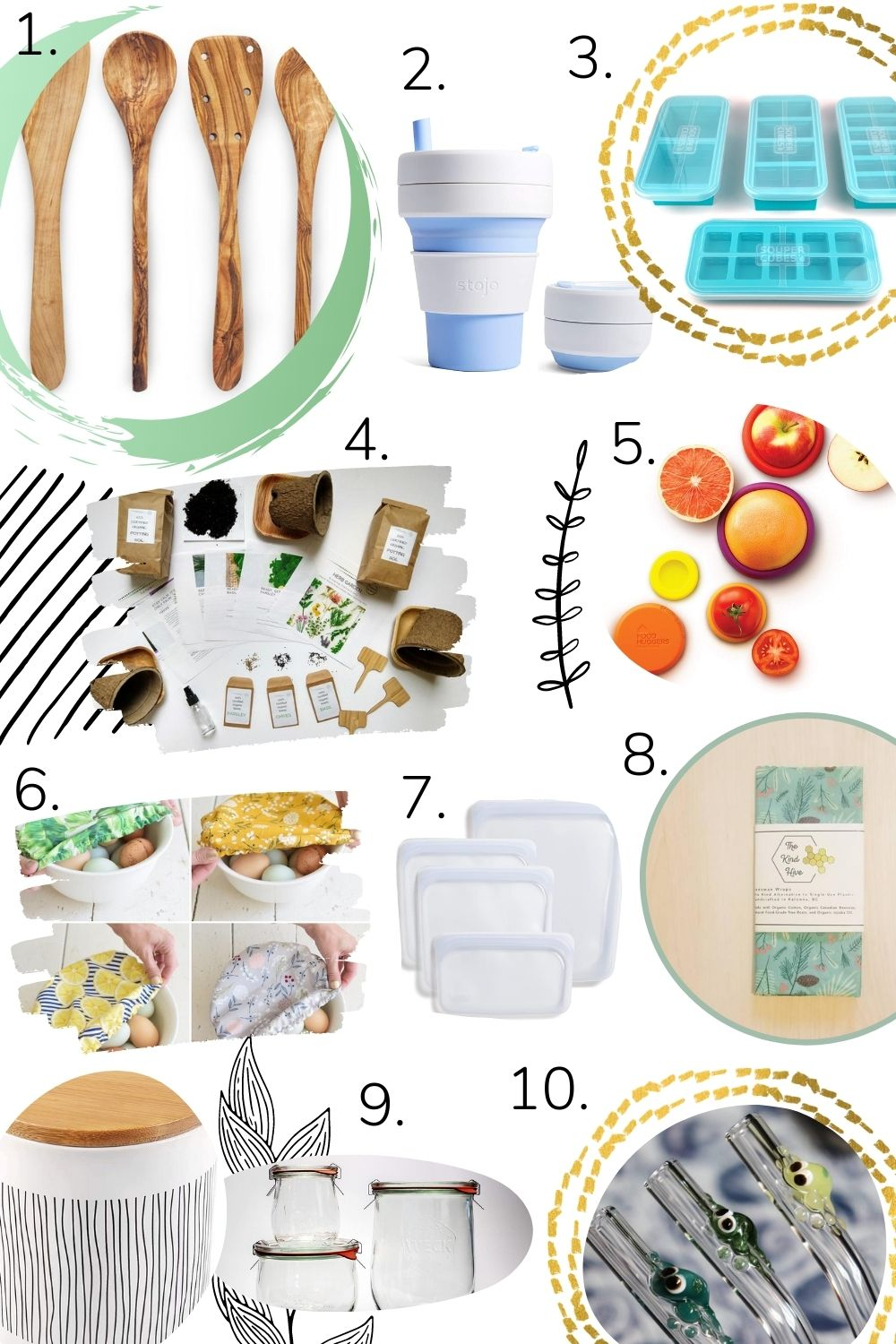 Collage of sustainable eco-friendly kitchen gift ideas.