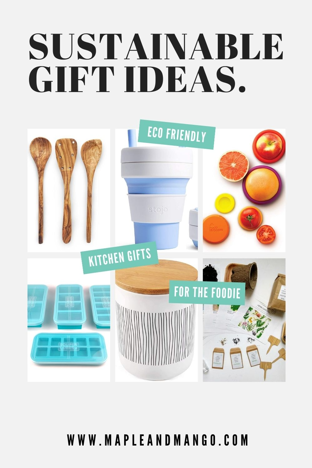 "Collage graphic for Pinterest with text overlay ""Sustainable Gift Ideas"""
