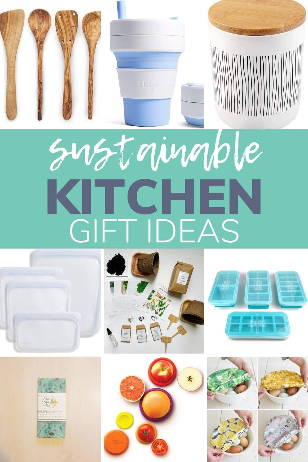 "Collage of eco-friendly kitchen products with text overlay ""Sustainable Kitchen Gift Ideas"""