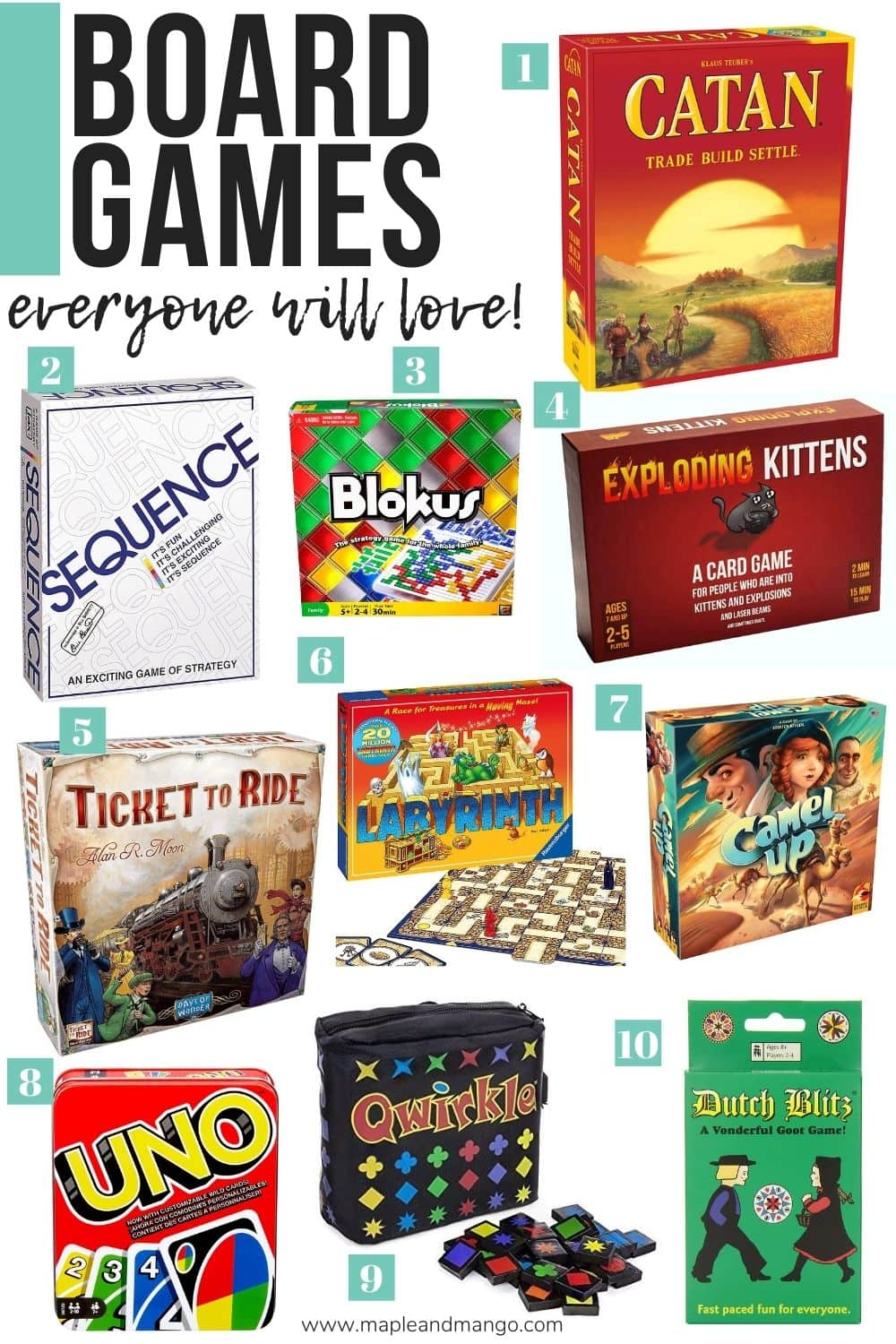 "Collage of board game images with text overlay ""Board Games Everyone Will Love!"""