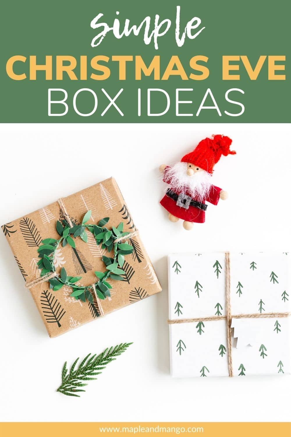 Pinterest graphic for simple Christmas Eve box ideas.