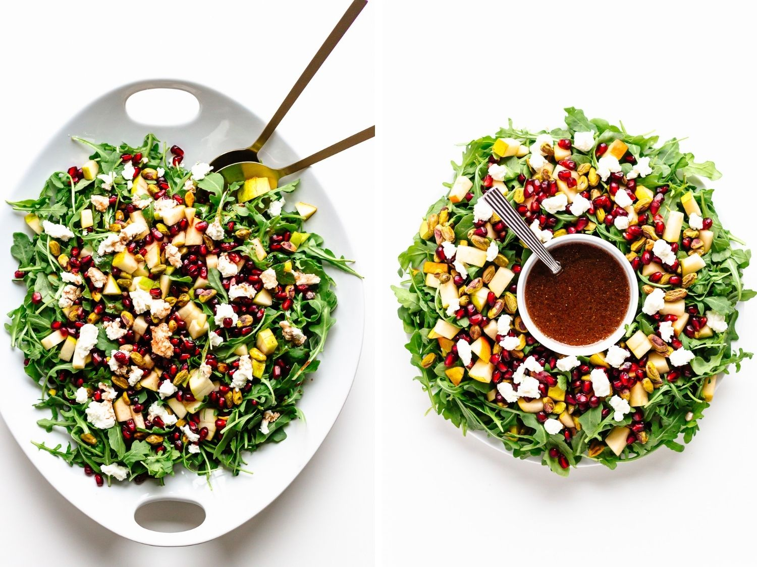 Collage showing two ways to present a Winter Holiday Salad (on a platter and in a wreath shape).