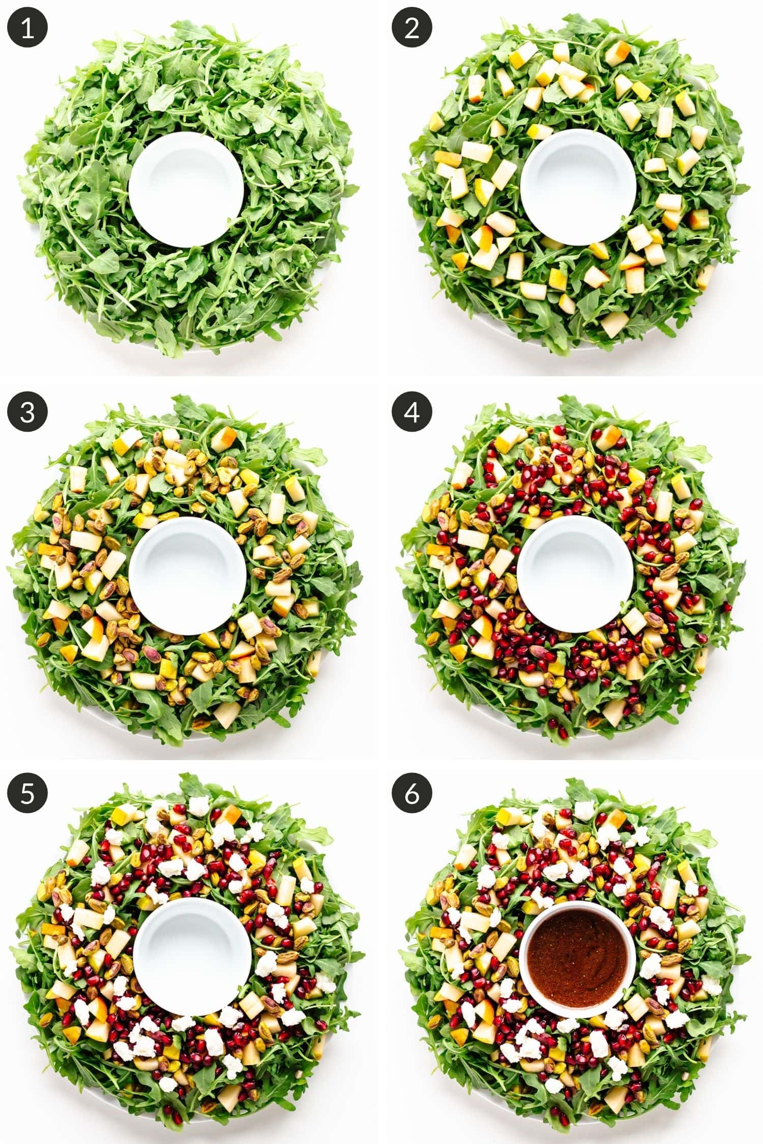 Step by step photos showing how to make a Christmas wreath salad.