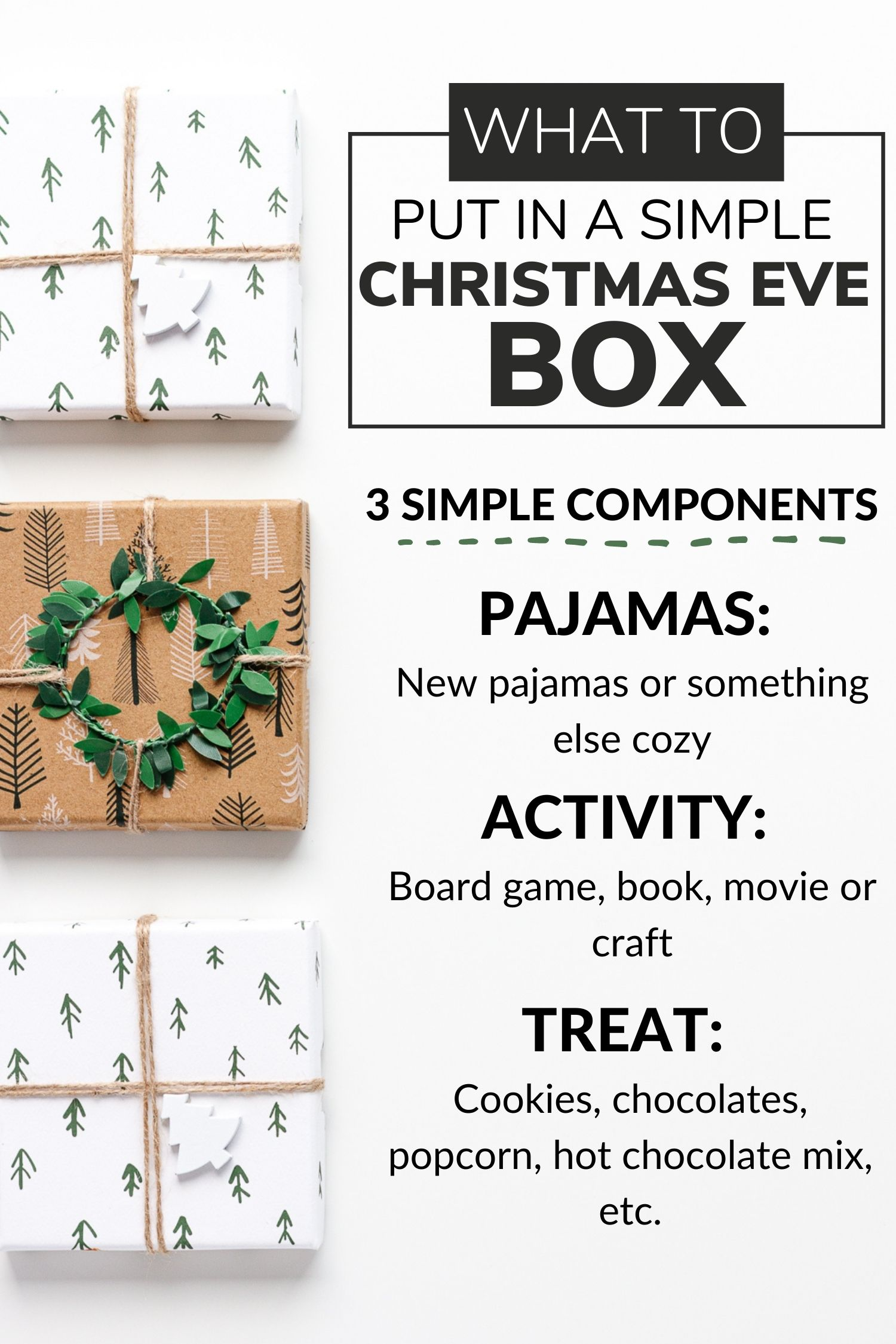 Infographic describing what to put in a simple Christmas Eve box.