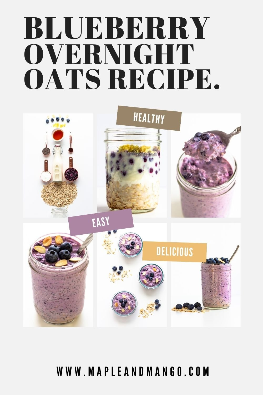 Pinterest graphic for Blueberry Overnight Oats recipe.
