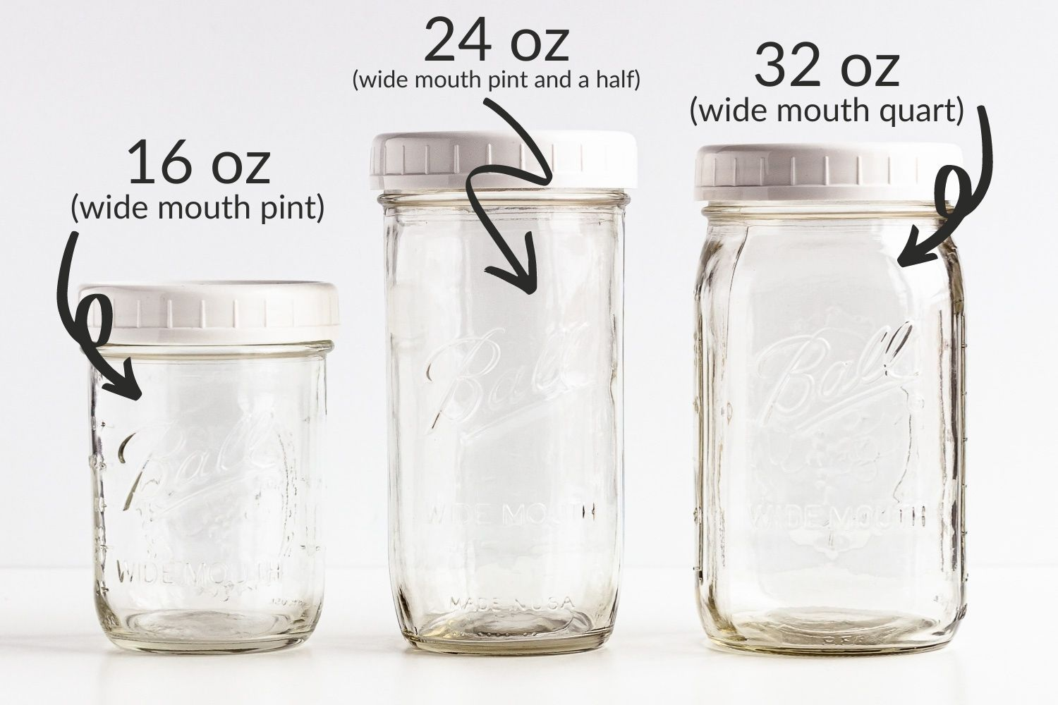 Graphic showing 16 oz, 24 oz and 32 oz mason jars with plastic lids.