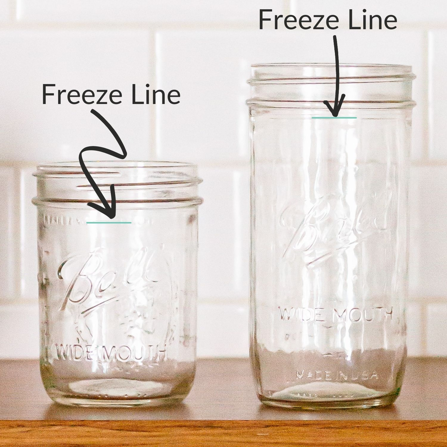 Graphic showing the freeze line on two different mason jars.