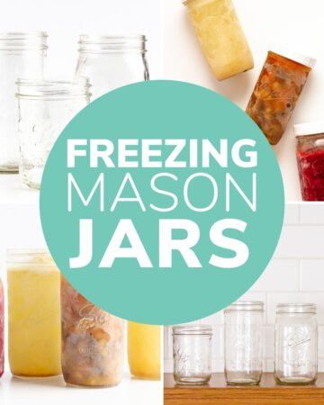 "Photo collage of glass jars with text overlay ""Freezing Mason Jars"""