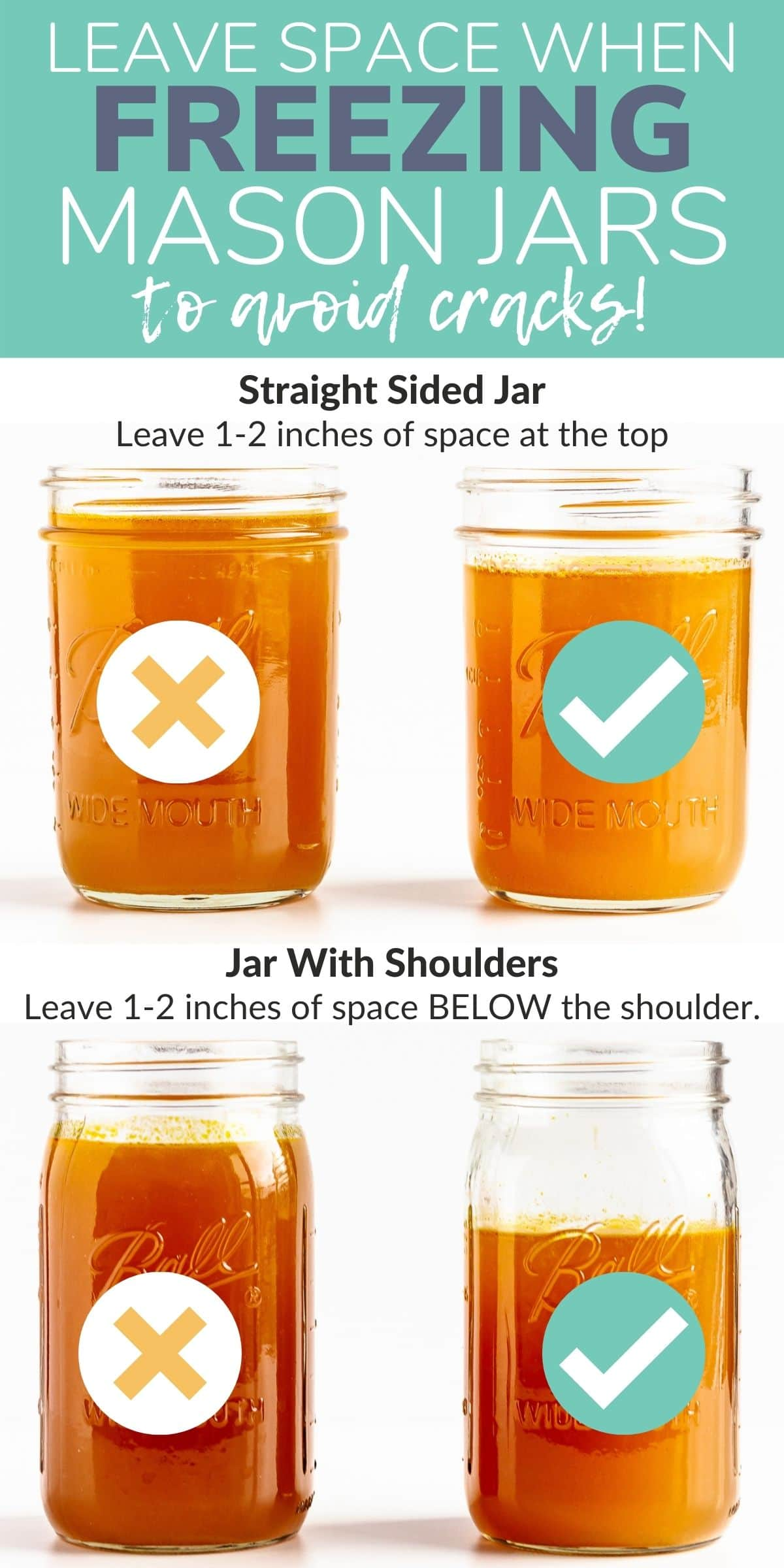 Graphic showing how much space to leave at the top of mason jars so they don't crack in the freezer.