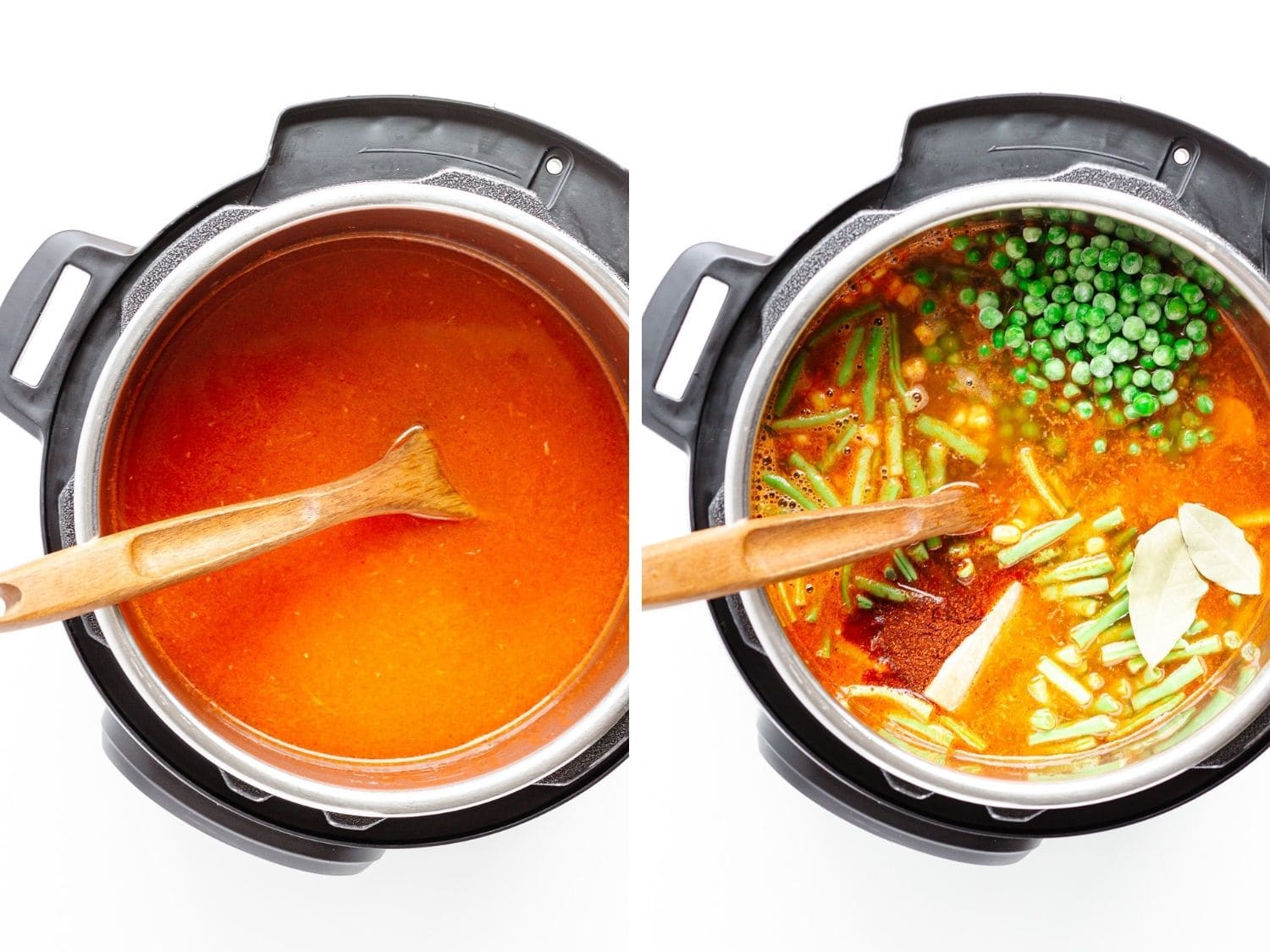Photo collage showing ingredients being added to the Instant Pot for vegetable soup.