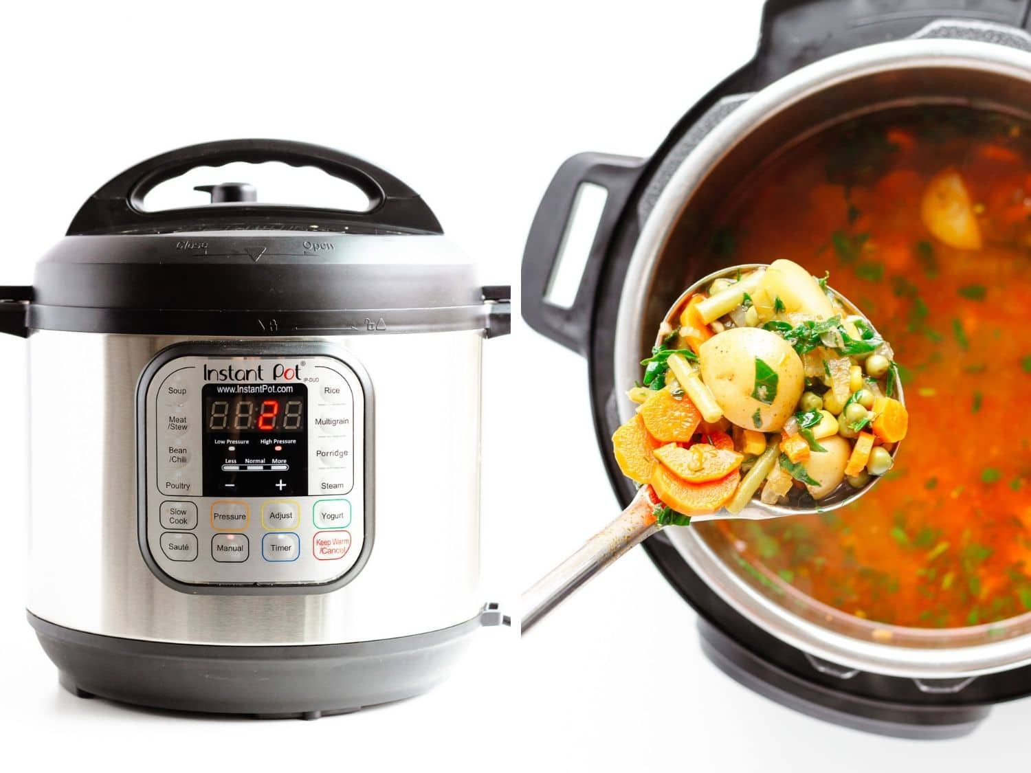 Photo collage showing Instant Pot and vegetable soup inside.