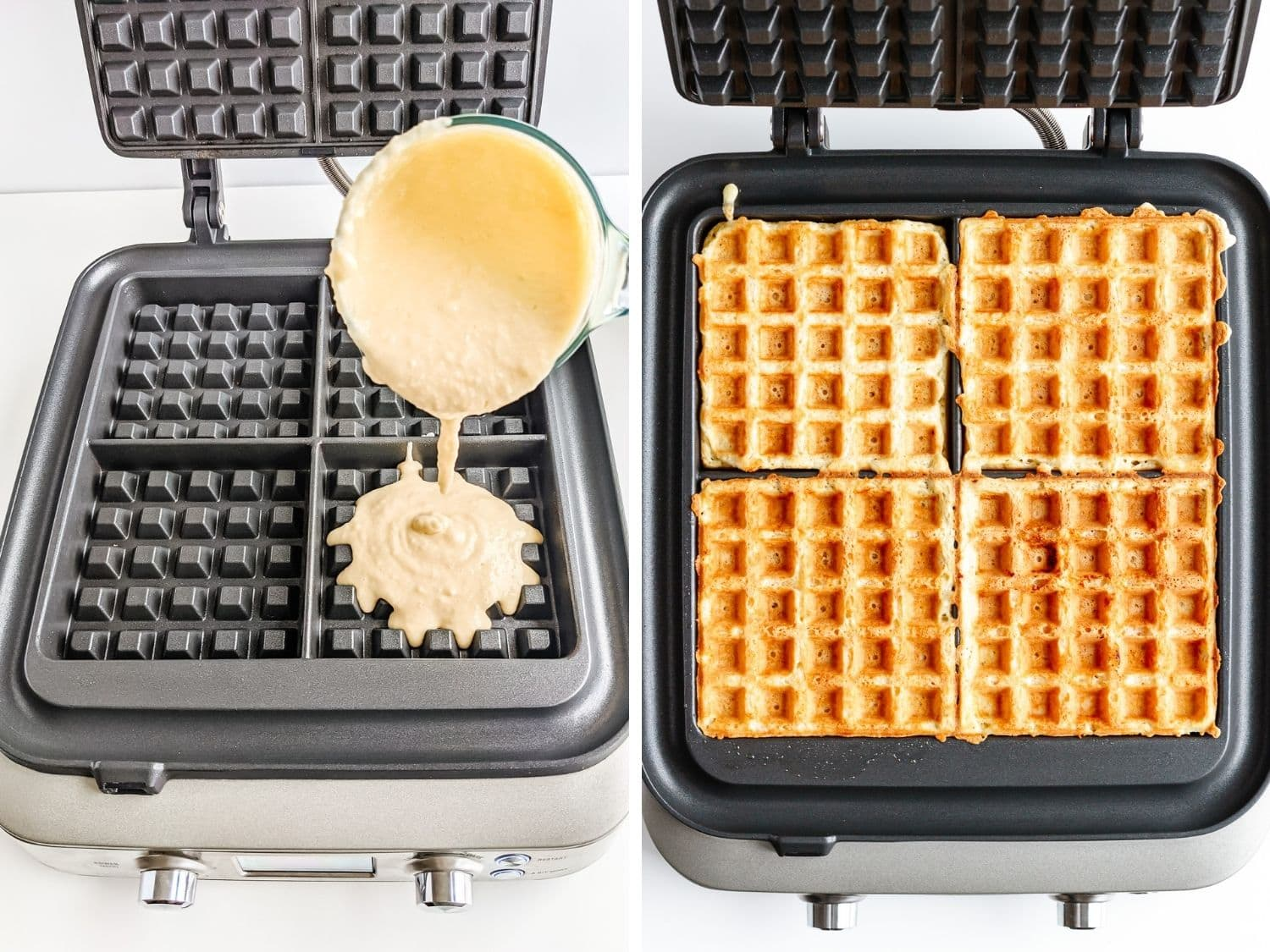 Collage showing waffle batter being cooked in a waffle iron.