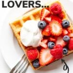 Pinterest graphic for waffle recipe.