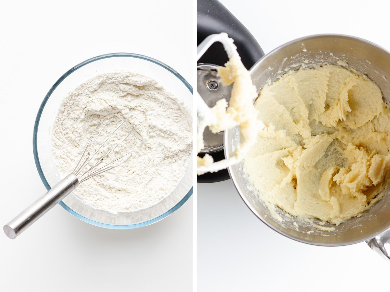 Photo collage showing dry ingredients being whisked together in a bowl and butter and sugar being creamed in a mixer.