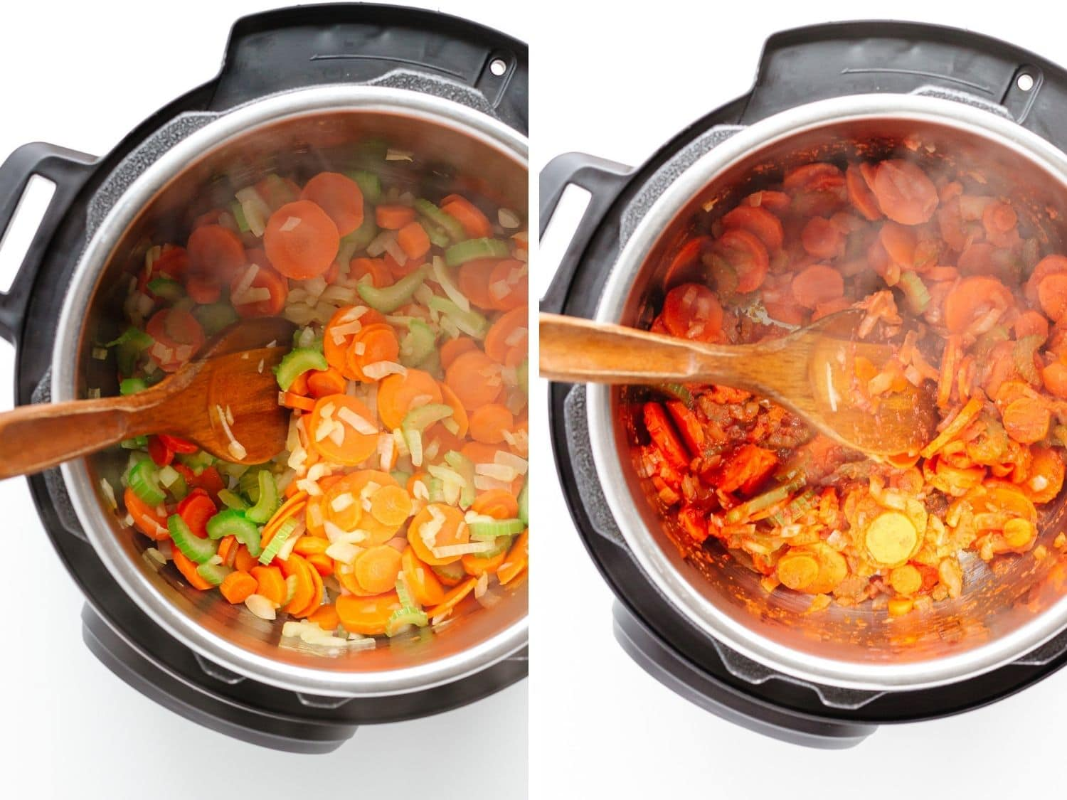 Photo collage showing vegetables being sautéed in the Instant Pot for soup.