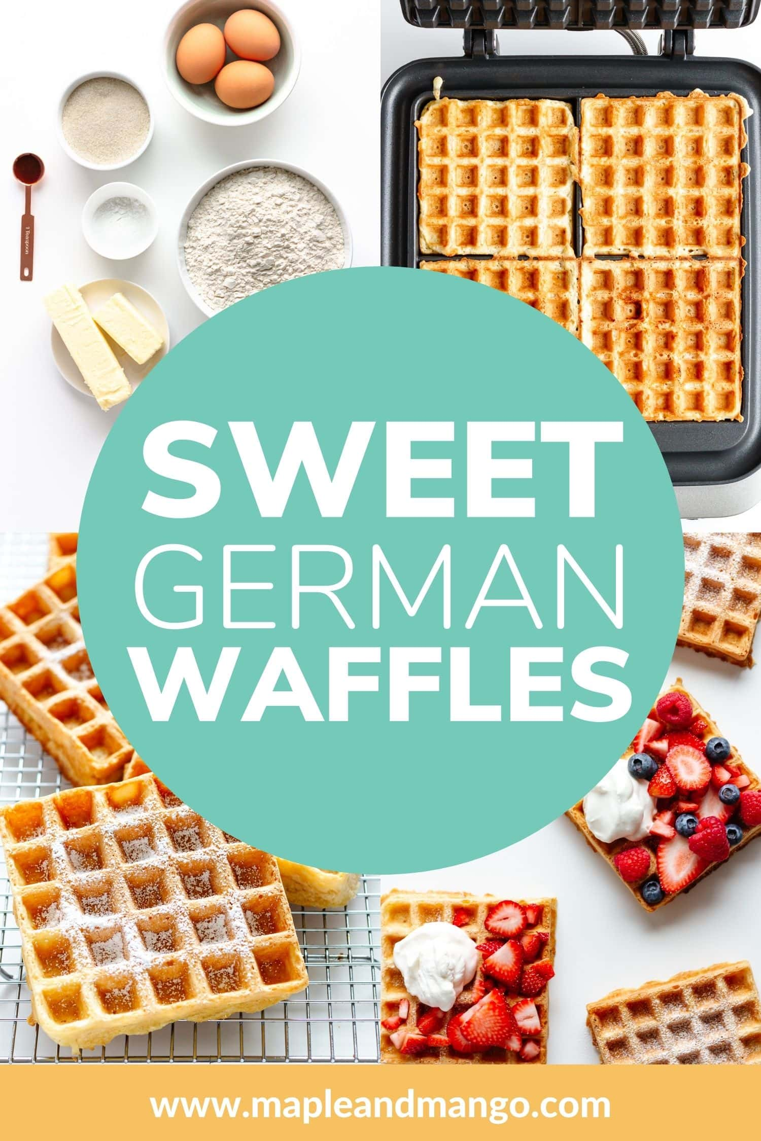 Pinterest graphic for Sweet German Waffles