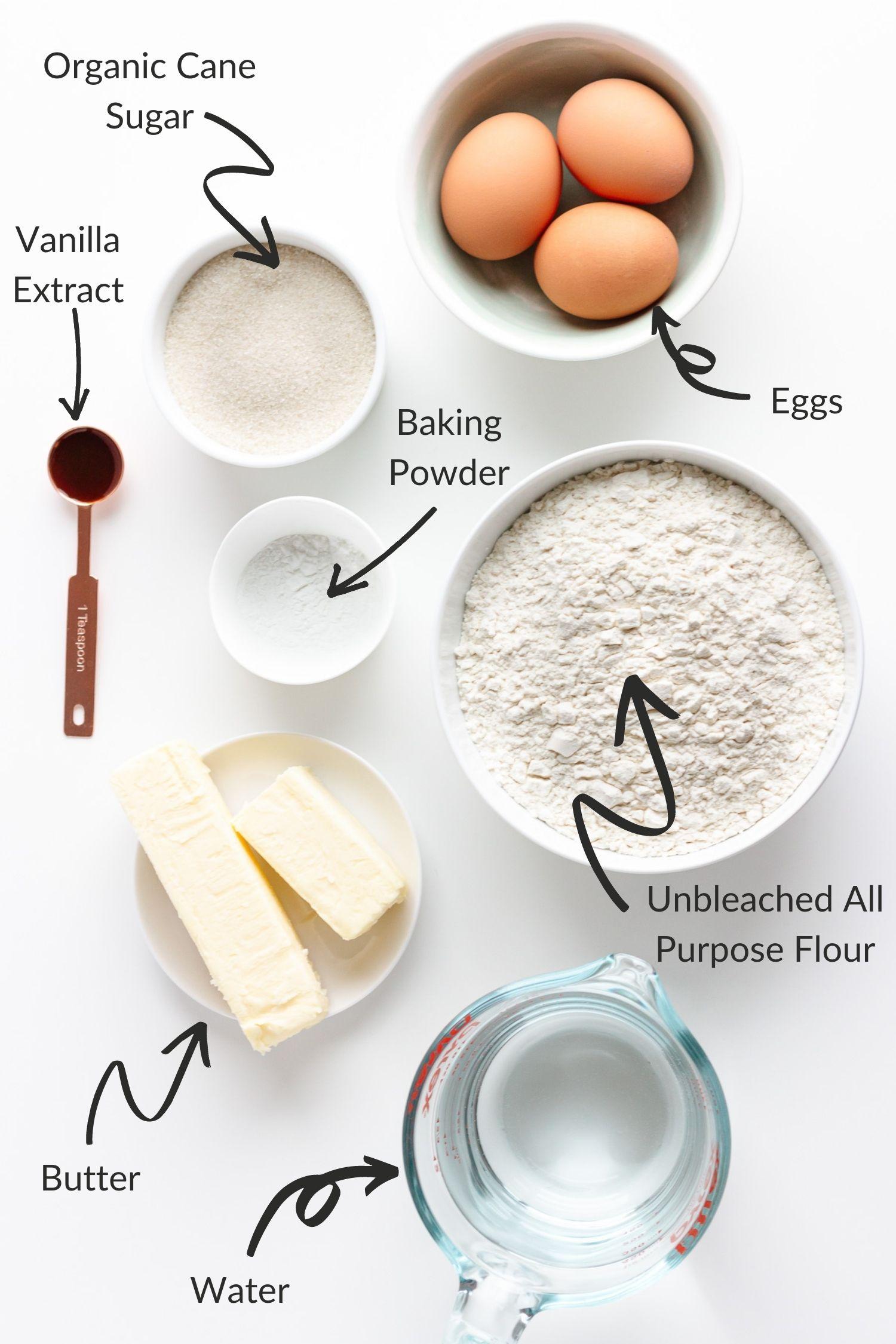 Ingredients needed to make German waffles.