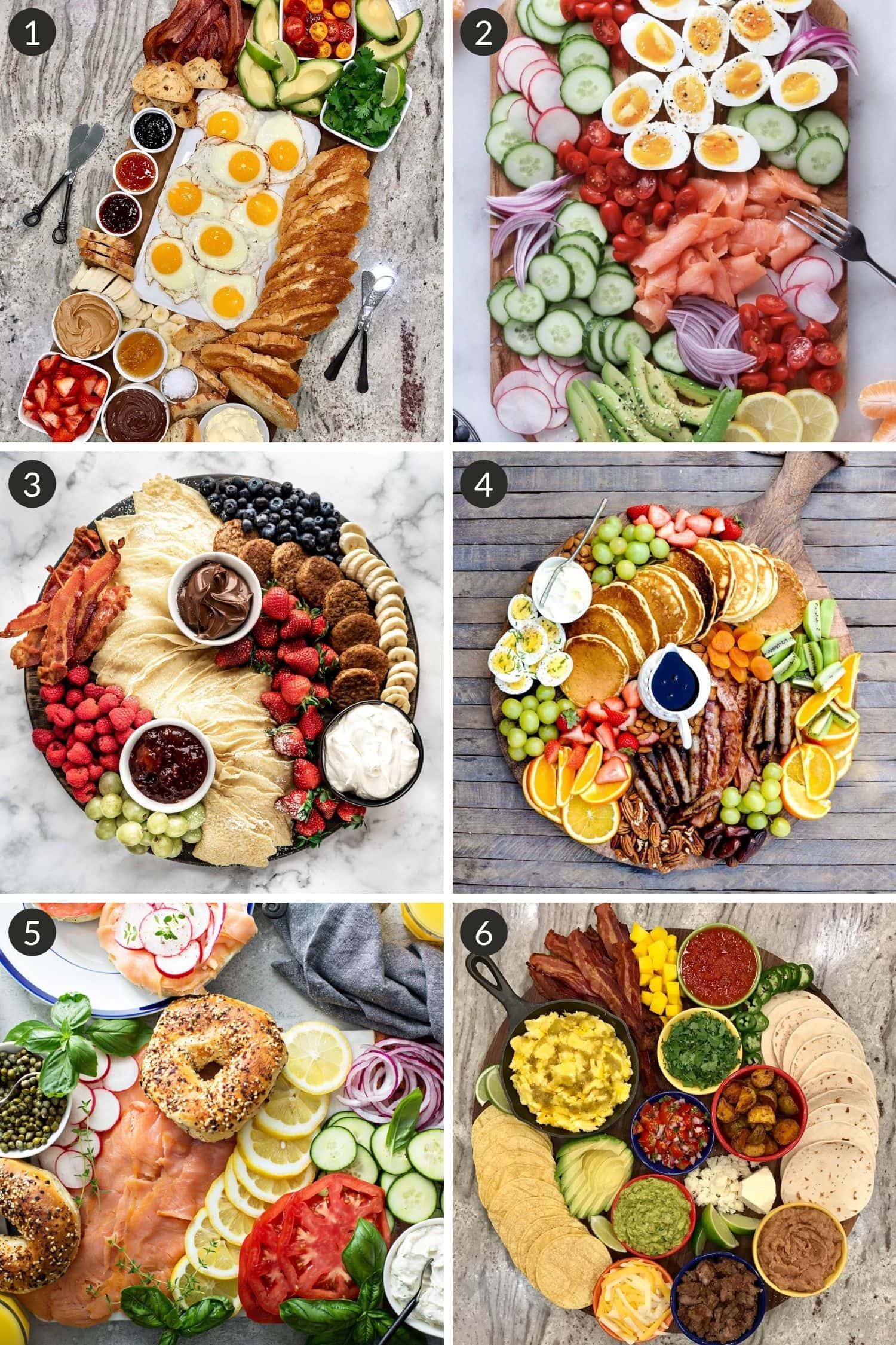 Collage of breakfast board inspiration from different bloggers.