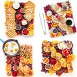Collage of four different breakfast charcuterie board ideas.