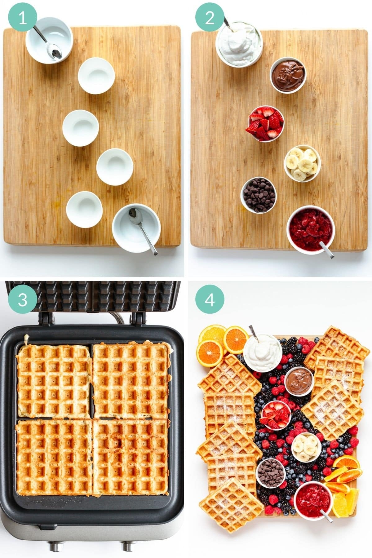 Photo collage showing how to build a waffle breakfast board step by step.