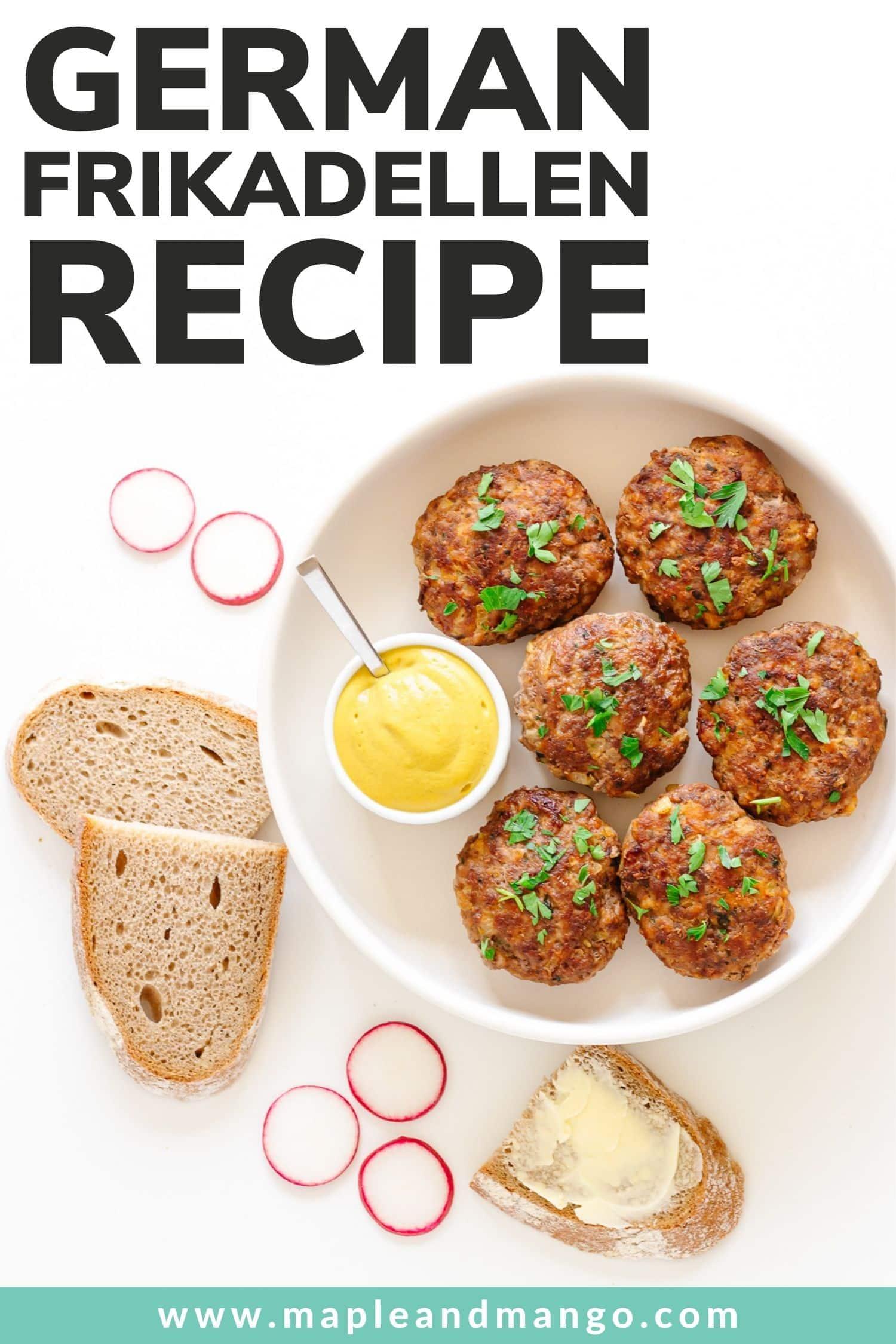 "Pinterest graphic featuring a round white dish of frikadellen and text overlay ""German Frikadellen Recipe"""